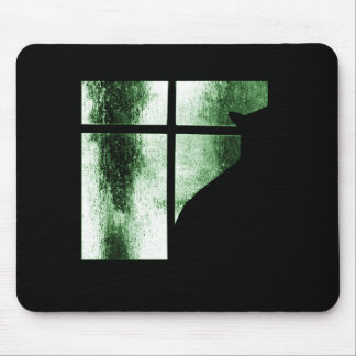 October Showers Cat Silhouette At Window Green Mouse Pad