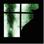 October Showers Cat Silhouette At Window Green Cut Out