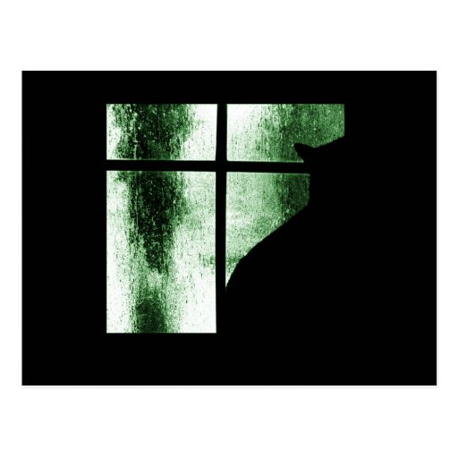 October Showers Cat Silhouette At Window Green Postcard