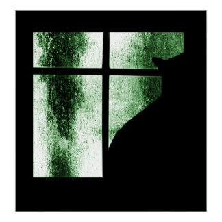 October Showers Cat Silhouette At Window Green Poster