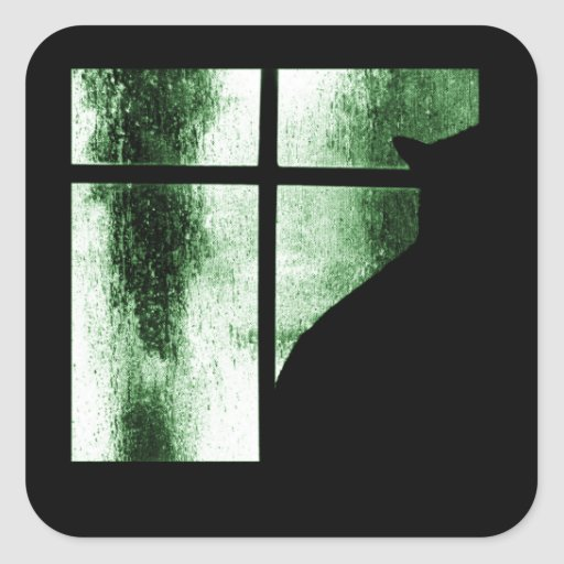 October Showers Cat Silhouette At Window Green Square Sticker