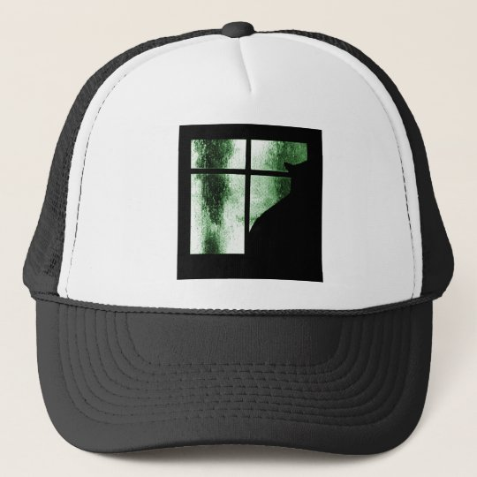 October Showers Cat Silhouette At Window Green Trucker Hat