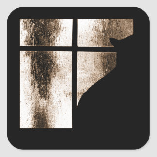October Showers Cat Silhouette At Window Orange Square Sticker