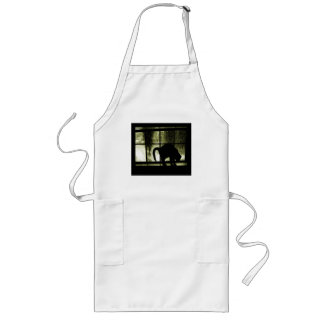 October Showers Cat Silhouette At Window Yellow Long Apron