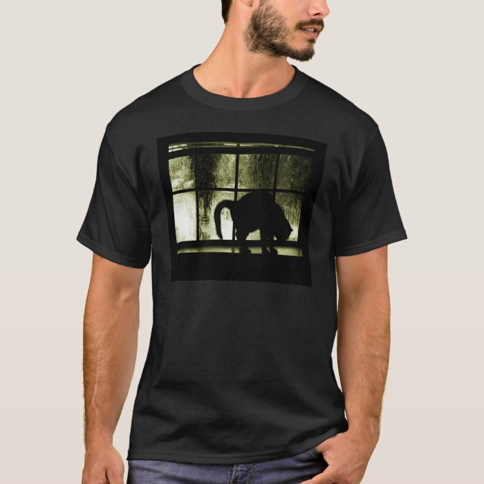 October Showers Cat Silhouette At Window Yellow T-Shirt