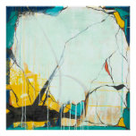 October - Square Blue & Yellow Abstract Art Poster