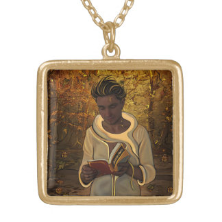 October Square Pendant Necklace