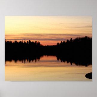 October Sunset on Poplar Lake Poster