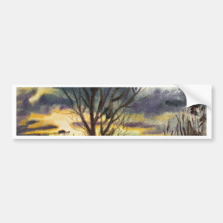 October Sunset Watercolor Painting Bumper Sticker