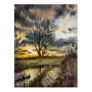 October Sunset Watercolor Painting Postcard