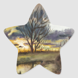 October Sunset Watercolor Painting Sticker