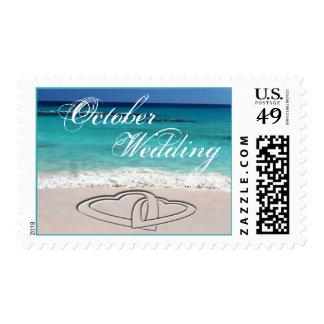 October Sweethearts Tropical Wedding Postage