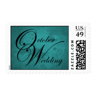 October Texture Wedding Month Postage Teal