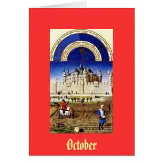 October - the Tres Riches Heures du Duc de Berry Stationery Note Card