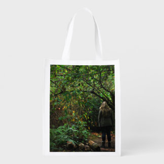 October Themed, Mysterious Blonde Girl In The Fore Reusable Grocery Bag
