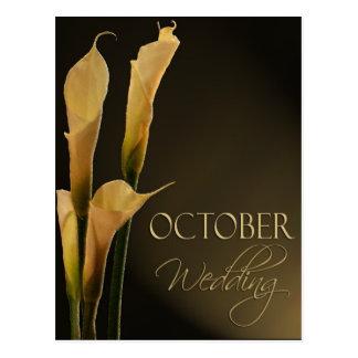 October wedding calla lily design postcard