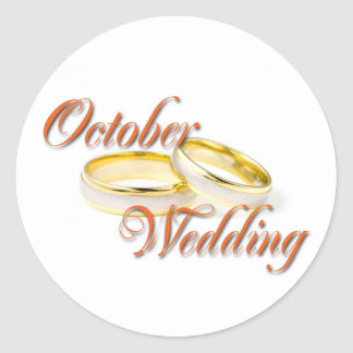 OCTOBER WEDDING CLASSIC ROUND STICKER