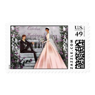 October Wedding Couple-Postage, Bridal, Bride, Dat Postage Stamp