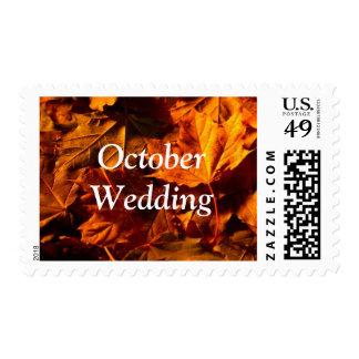 October Wedding Fall Leaves Wedding Postage