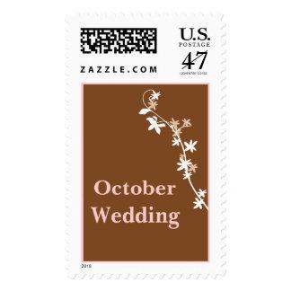 October Wedding In Brown Postage Stamp