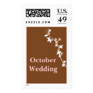 October Wedding In Brown Postage Stamp