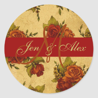 October Wedding Monogram and Names Rose Sticker