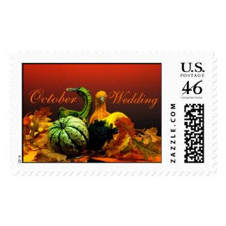 October Wedding Postage Stamp