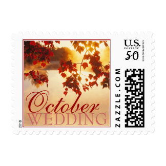 October Wedding postage stamp small