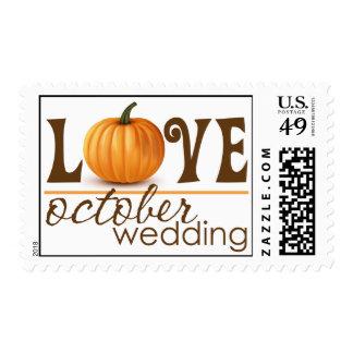 October Wedding Pumpkin Love Postage Stamp