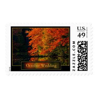 October Wedding Save The Dates  Invitation Postage