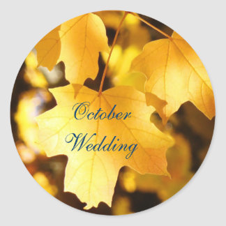 October Wedding seals Invitations Golden Autumn