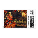 October Wedding stamps with autumn leaves