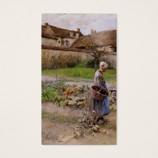 October with Woman in Her Garden Business Card