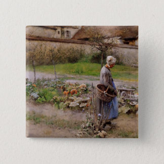 October with Woman in Her Garden Button