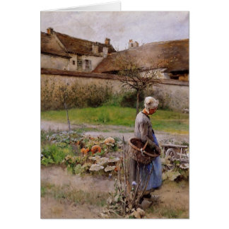 October with Woman in Her Garden Greeting Card