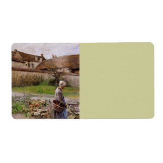 October with Woman in Her Garden Personalized Shipping Label