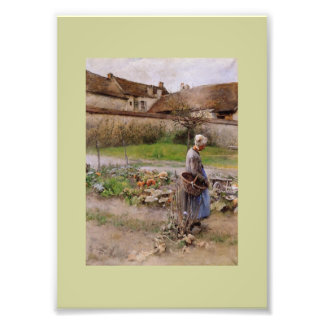 October with Woman in Her Garden Photo Print