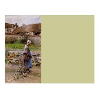 October with Woman in Her Garden Postcard