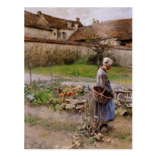 October with Woman in Her Garden Postcards
