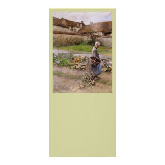 October with Woman in Her Garden Personalized Rack Card