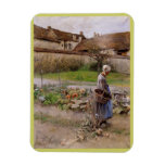 October with Woman in Her Garden Rectangle Magnets