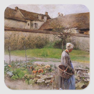 October with Woman in Her Garden Square Sticker
