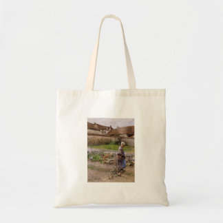 October with Woman in Her Garden Tote Bag