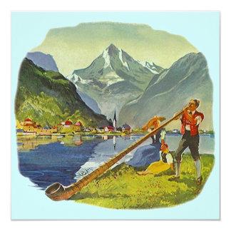 "OCTOBERFEST Alps ALPHORN ANNOUNCE PARTY INVITES 5.25"" Square Invitation Card"