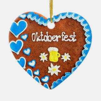 Octoberfest gingerbread heart supporter ceramic ornament