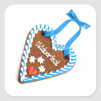 Octoberfest gingerbread motive square sticker