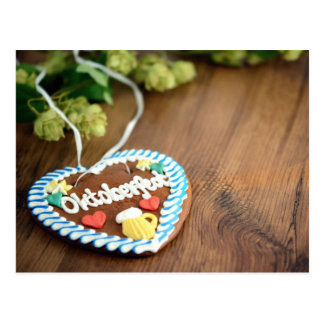 Octoberfest going hereditary READ heart on table Postcard
