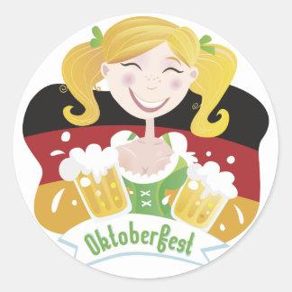 Octoberfest Mädchen Etiquetas Redondas