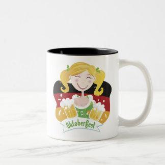 Octoberfest Mädchen Two-Tone Coffee Mug