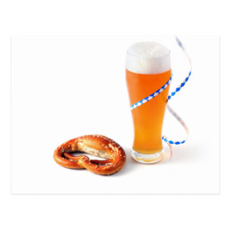 Octoberfest more beer with bavarian streamer n postcard